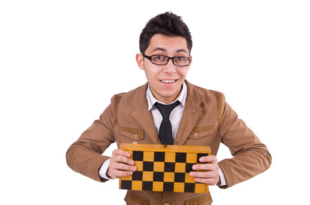 Funny chess player isolated on white Stock Photo - 28025902