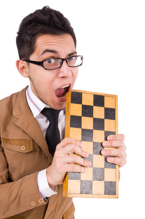 Funny chess player isolated on white Stock Photo - 28025921