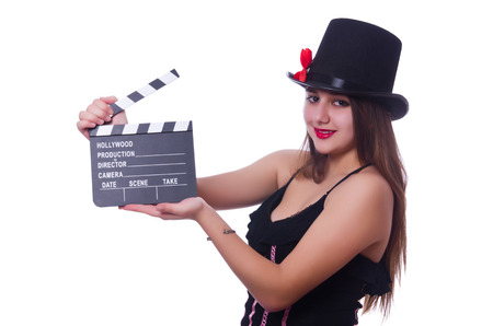 Young woman with movie board on white Stock Photo - 27973631