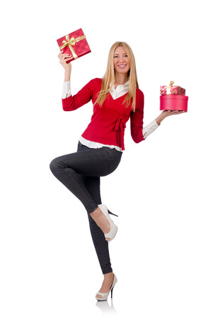 Young woman with christmas shopping on white Stock Photo - 27973644