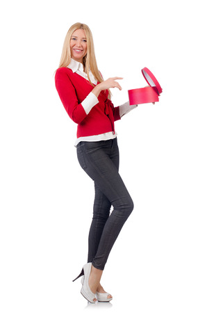 Young woman with christmas shopping on white Stock Photo - 27973645