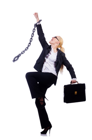 Businesswoman with chain isolated on the white Stock Photo - 28025977