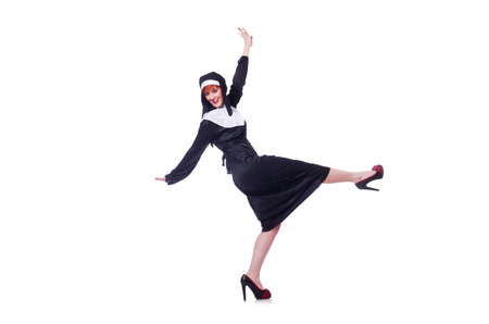 Nun isolated on the white background photo