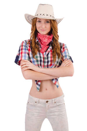 Redhead happy cowgirl isolated on white photo