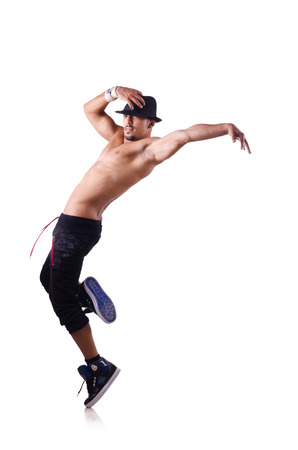Ripped dancer isolated on the white photo