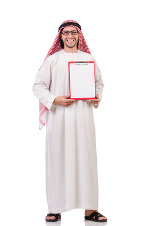 qameez: Arab man with binder isolated on white