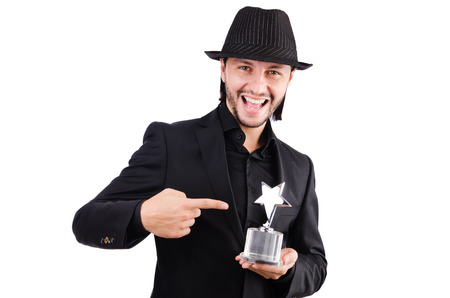 Businessman with star award isolated on white photo