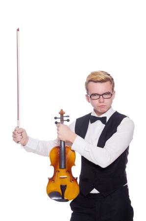 violin player: Funny violin player on white