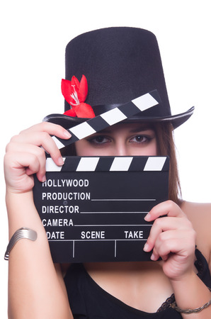 Young woman with movie board on white Stock Photo - 27958680
