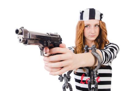 Prisoner with gun isolated on white Stock Photo - 28367186