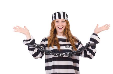 Prisoner in striped uniform on white Stock Photo - 28367738