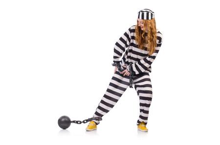 Prisoner in striped uniform on white Stock Photo - 28367739