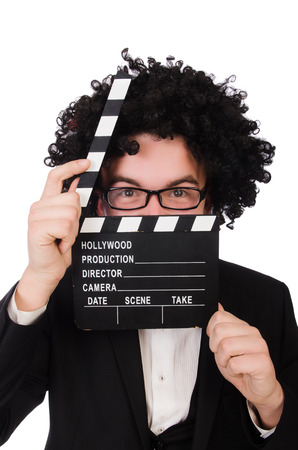 Funny movie director isolated on white Stock Photo