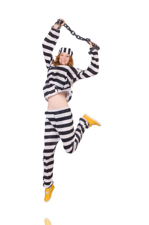 Prisoner in striped uniform on white Stock Photo - 28368325