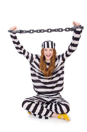 Prisoner in striped uniform on white Stock Photo - 28368326