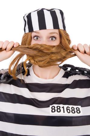 Prisoner in striped uniform on white Stock Photo - 28368327