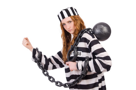 Prisoner in striped uniform on white Stock Photo - 28368328
