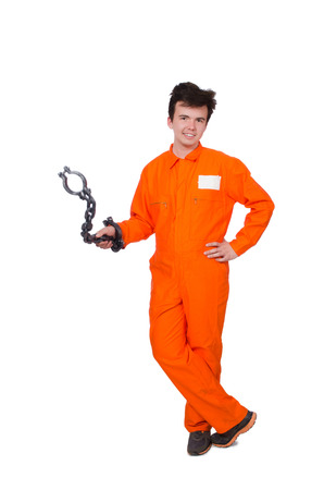 Young inmate with chains isolated on the white Stock Photo - 28368523