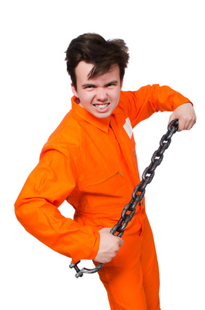 Young inmate with chains isolated on the white Stock Photo - 28368525