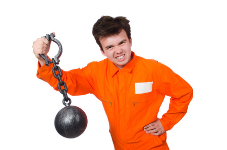 Young inmate with chains isolated on the white Stock Photo - 28368527
