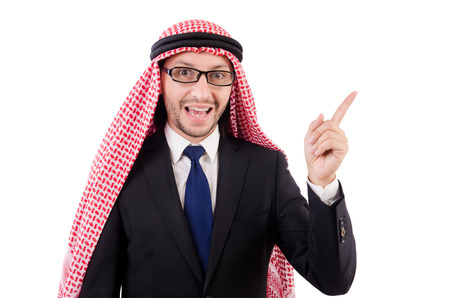 qameez: Arab man in specs isolated on white