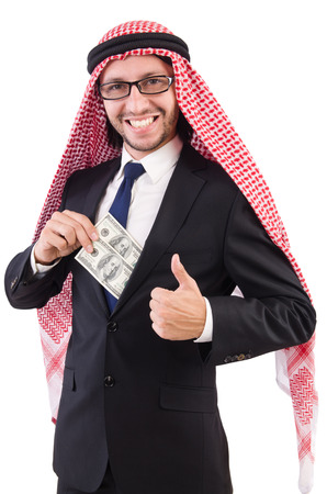 bohra: Arab businessman in eyeglasses with dollar   isolated on white Stock Photo