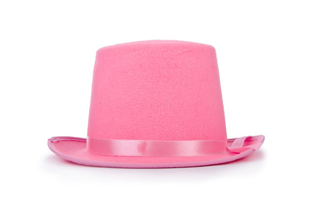 bowler hat: Pink topper hat isolated on the white