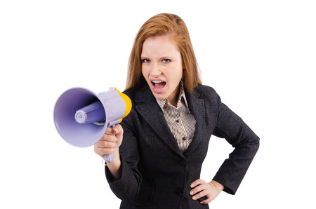 Woman with loudspeaker isolated on the white photo