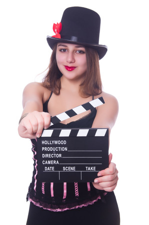 Young woman with movie board on white Stock Photo - 28392570