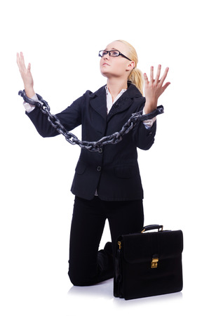 Businesswoman with chain isolated on the white Stock Photo - 28529339