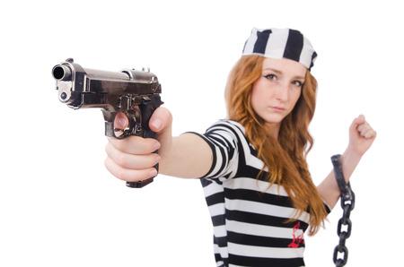 Prisoner with gun isolated on white photo