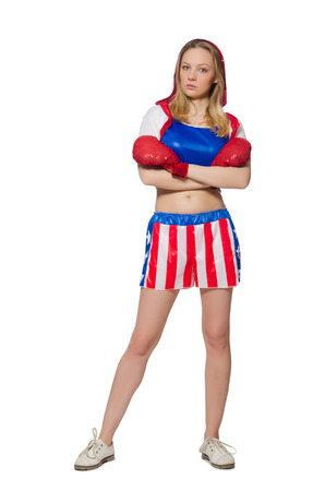 Female boxer isolated on the white  photo