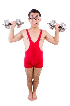 funny guy: Dr�le de type avec dumbbels sur blanc Banque d'images