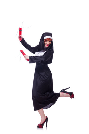 Nun with dynamite isolated on the white photo