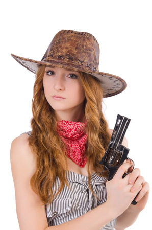 Woman gangster with gun isolated on white photo