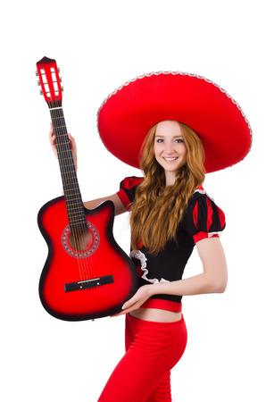 femme avec guitare: Femme joueur de guitare avec sombrero sur blanc Banque d'images