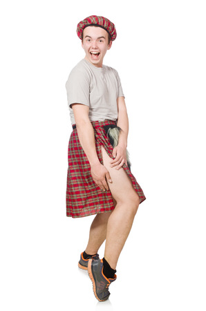 Funny scotsman isolated on white photo