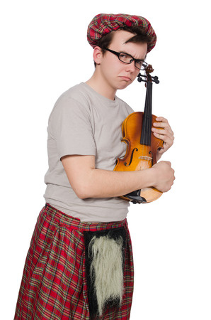 Funny scotsman with violin on white photo