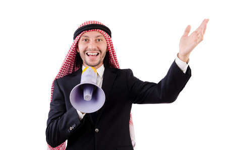 Arab yelling with loudspeaker isolated on white photo