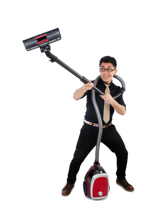 Man with vacuum cleaner isolated on white photo