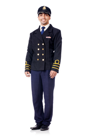Young pilot isolated on the white Stock Photo - 28857778