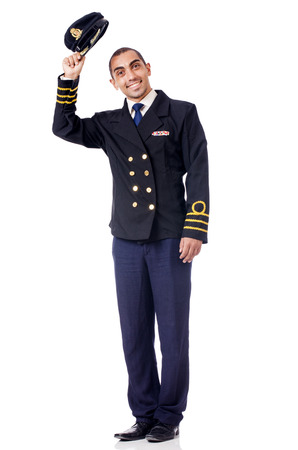 Young pilot isolated on the white Stock Photo - 28857779