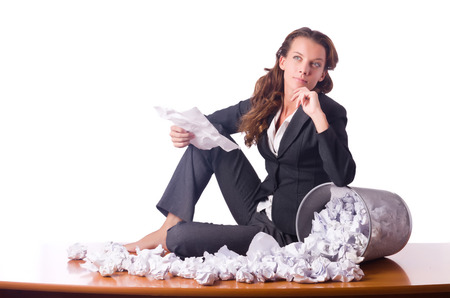 discarded: Woman with lots of discarded paper