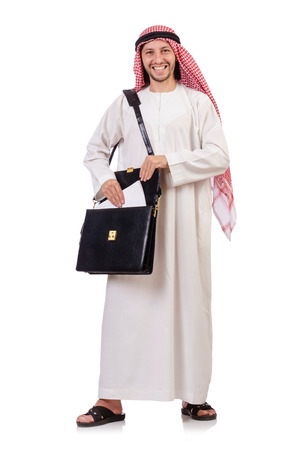 kameez: Arab man with briefcase isolated on white Stock Photo