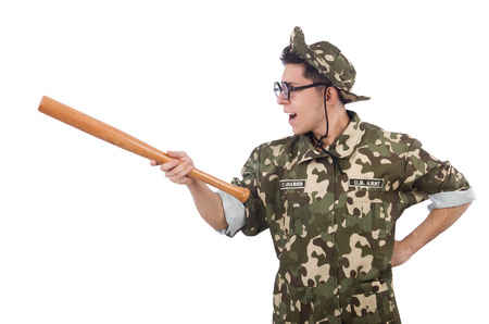 Soldier with baseball bat isolated on white photo