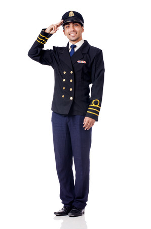 Young pilot isolated on the white Stock Photo - 28930746