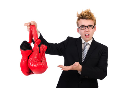 agression: Young businessman boxer isolated on white Stock Photo