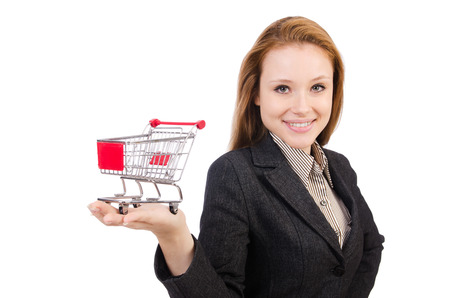 Businesswoman with shopping cart photo