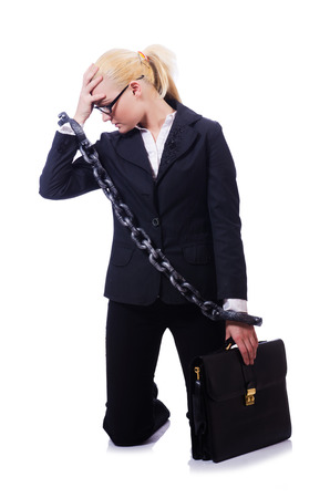 Businesswoman with chain isolated on the white photo