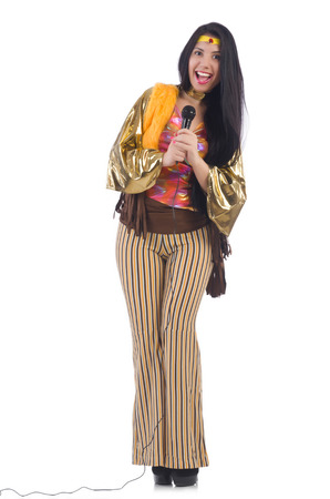 Woman in spanish clothing with mic Stock Photo - 28861292